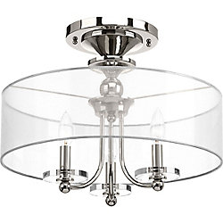 Progress Lighting Marche Collection 3-Light Polished Nickel Semi-Flushmount
