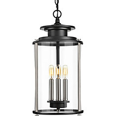 Squire Collection 3-Light Black Pendant