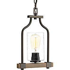 Barnes Mill Collection 1-Light Pendant Light Fixture in Antique Bronze