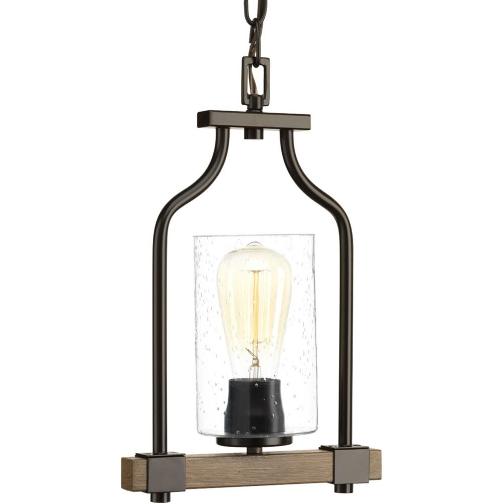Progress Lighting Barnes Mill Collection 1-Light Pendant Light Fixture in Antique Bronze
