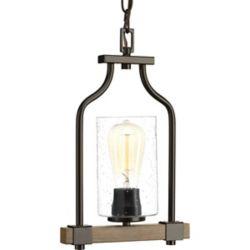 Progress Lighting Barnes Mill Collection 1-Light Pendant Light Fixture in Antique Bronze