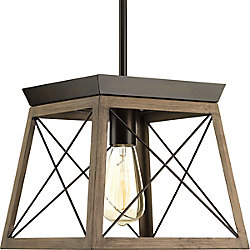 Progress Lighting Luminaire suspendu à 1 lumière, collection Briarwood - fini bronze antique