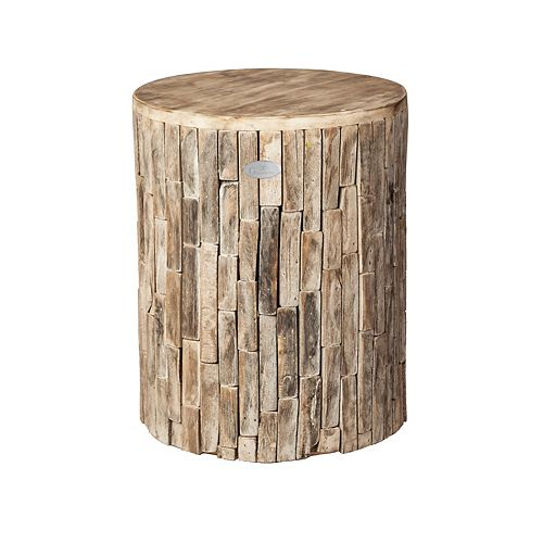 Grapevine Recycled Wood Plant Stand/Stool/Table, Elyse Round, Driftwood White Wash