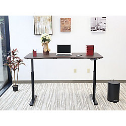 Motionwise Electric Height Adjustable Desk, Manager Style, 30-inch x60-inch , American Walnut