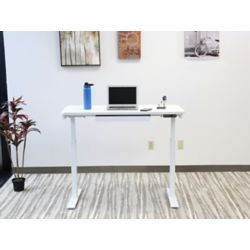 Motionwise Electric Height Adjustable Desk,Home Office Style,24-inch X48-inch ,Snow White