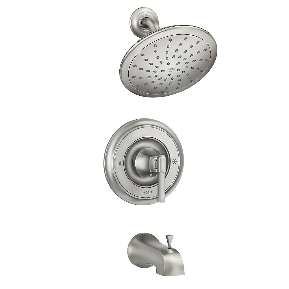 Ayda Single-Handle 1-Spray Tub and Shower Faucet in Spot Resist Brushed Nickel (Valve Included)