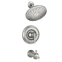 MOEN Ayda Robinet de baignoire et de douche à 1 jet en nickel brossé résistant aux taches (valve incluse)