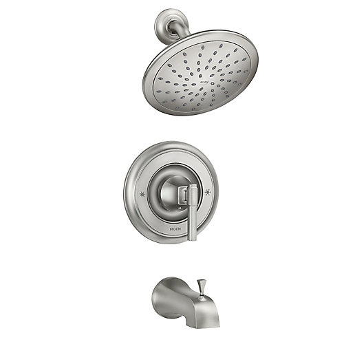 Ayda Robinet de baignoire et de douche à 1 jet en nickel brossé résistant aux taches (valve incluse)