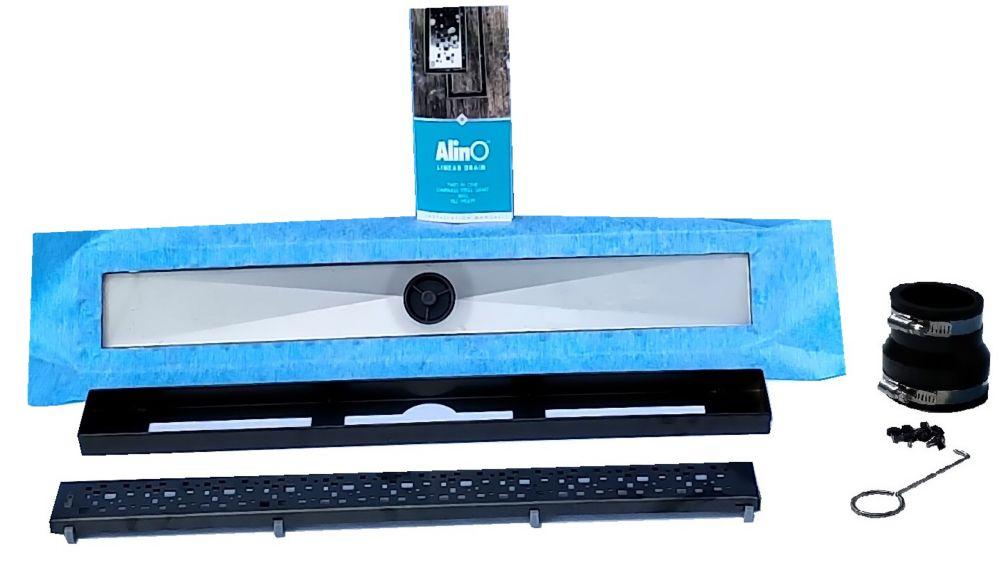 AlinO Linear Shower Drain 24-inch (Square - Black)