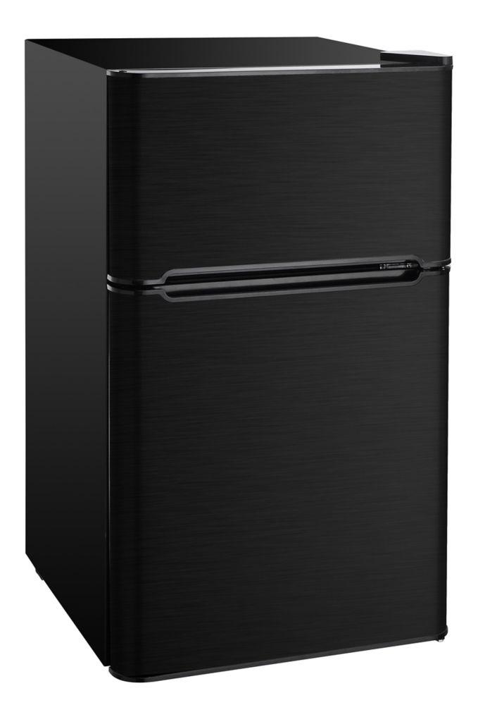3.2 cu. ft. Compact 2 Door Fridge/Freezer Combination - Black Stainless Steel
