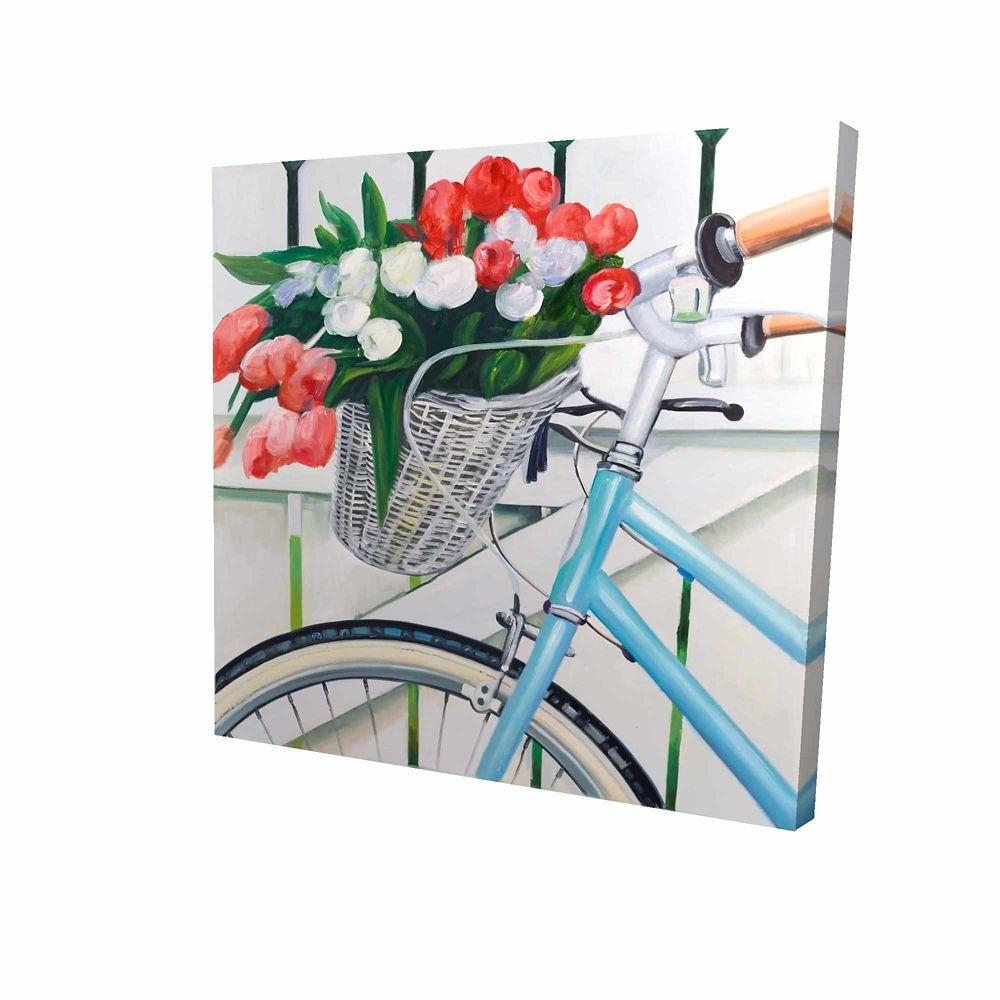 BEGIN EDITION INTERNATIONAL INC. Bicycle With Tulips Flowers In Basket Printed On Canvas Wrapped On Wood, 36-inch x 36-inch