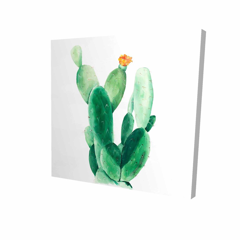 BEGIN EDITION INTERNATIONAL INC. Watercolor Paddle Cactus With Flower Printed On Canvas Wrapped On Wood, 36-inch x 36-inch