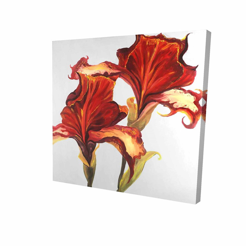BEGIN EDITION INTERNATIONAL INC. Lilies With Fall Colors Printed On Canvas Wrapped On Wood, 24-inch x 24-inch