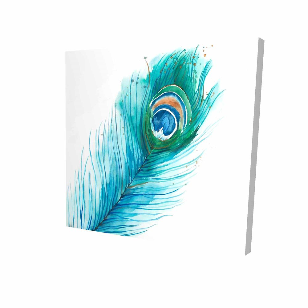 BEGIN EDITION INTERNATIONAL INC. Long Peacock Feather Printed On Canvas Wrapped On Wood, 24-inch x 24-inch