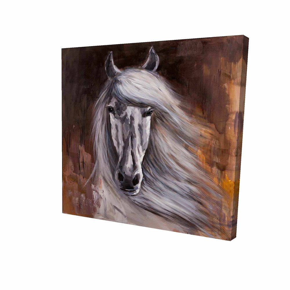 BEGIN EDITION INTERNATIONAL INC. Proud White Horse Printed On Canvas Wrapped On Wood, 24-inch x 24-inch
