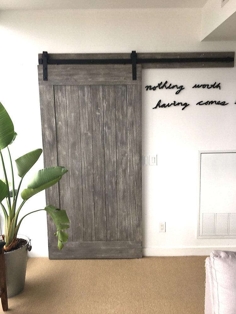 Eucalyptus Barn Door 42 inch x 84 inch Textured Grey Design Includes Header  Board & Hardware