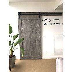 INTERBUILD Eucalyptus  Barn Door 42 inch x 84 inch  Textured Grey Design Includes Header Board & Hardware