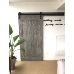 INTERBUILD Eucalyptus  Barn Door 42 inch x 84 inch  Textured Grey Design Includes Header Board & Hardware