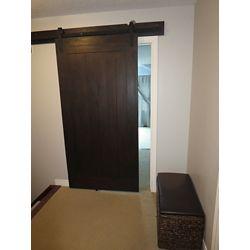 INTERBUILD Acacia Barn Door 42 inch x 84 inch Wenge Brown Classic Design Includes Header Board & Hardware