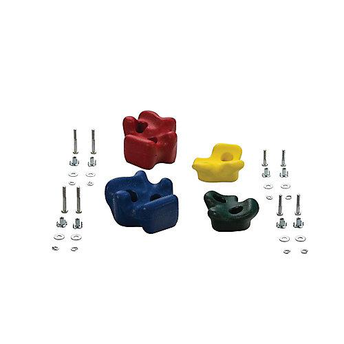 Prises d'escalade (ensemble de4)- Vert, Jaune, Bleu & Rouge