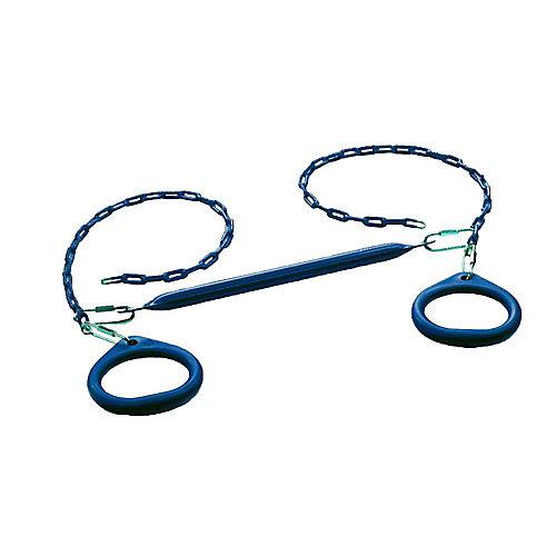 Trapèze à anneaux circulaires standard Barres et anneaux pour portique-Bleu