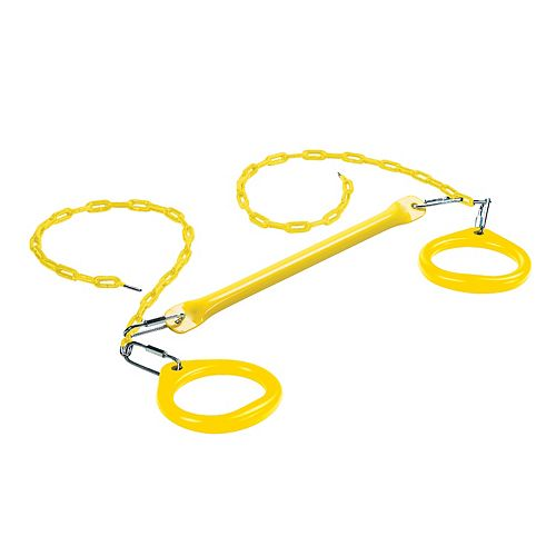 Creative Cedar Designs Trapeze Bar w/ Circular Rings- Yellow