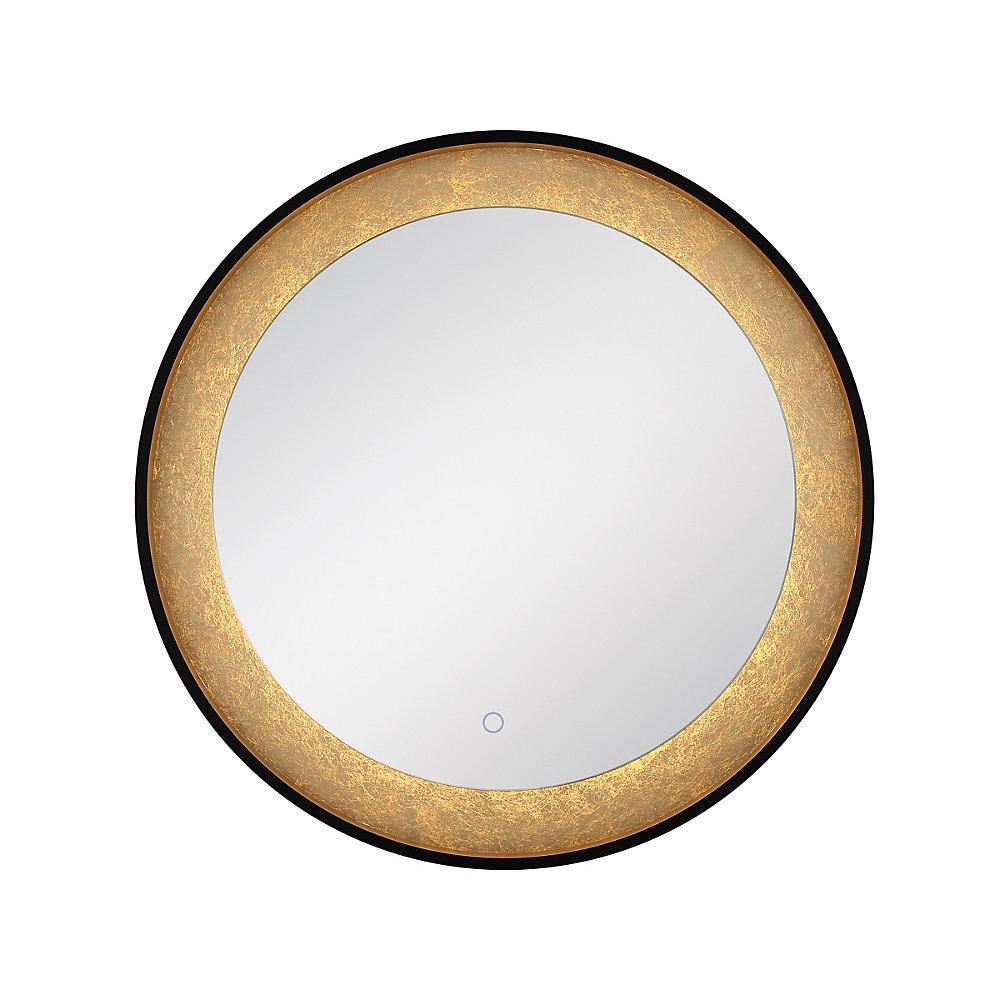 Gold Leaf Edge Lit LED Round Mirror - 33830-018