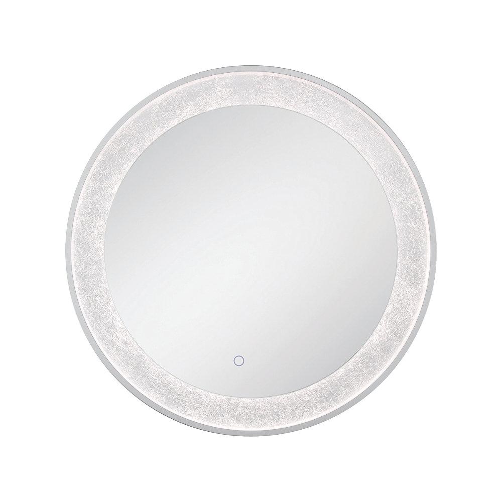 Silver Leaf Edge Lit LED Round Mirror - 33832-012