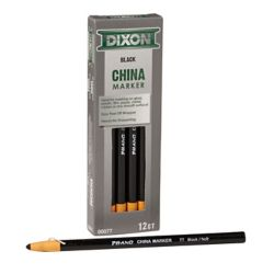 Dixon China Markers - Paper Wrapped - Black - 12/Bx