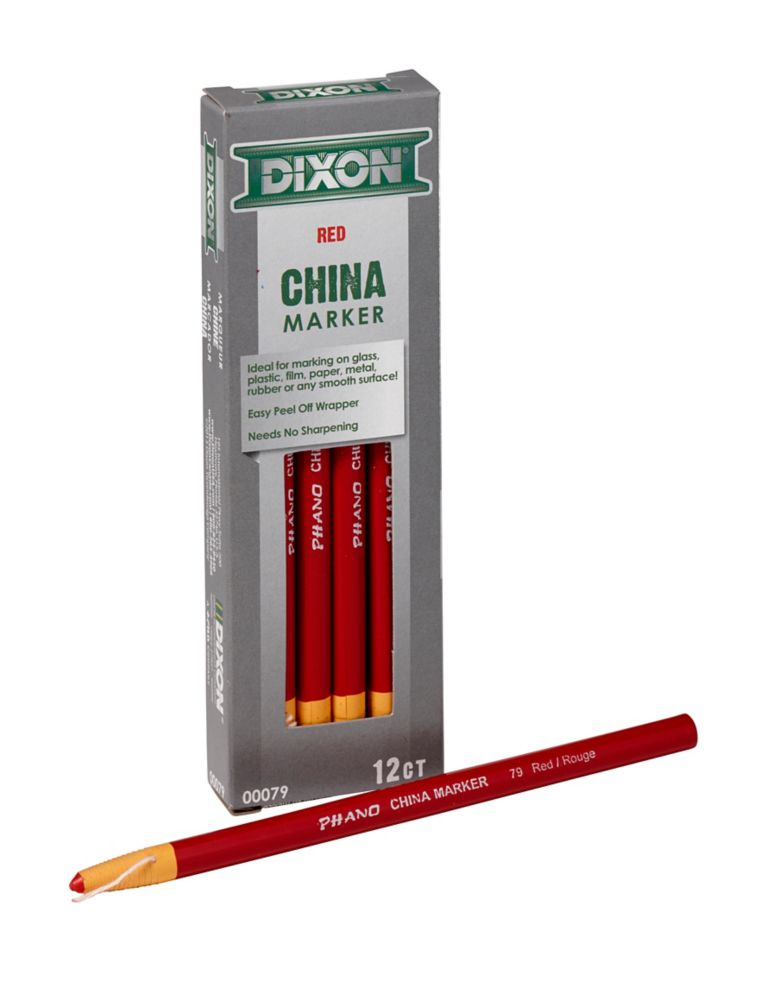 Dixon China Markers - Paper Wrapped - Red - 12/Bx