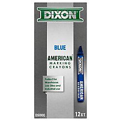 Dixon American Marking Crayon - Blue 12 Count