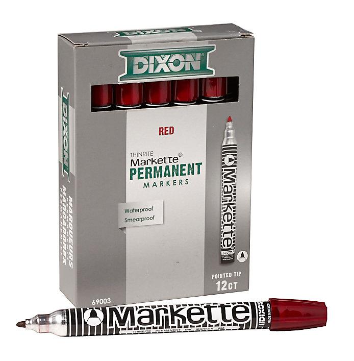 Markette Thinrite 6 inch. Metal Barrel - Fine Point - Red - 12/Bx