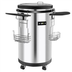 Frigidaire Top Loading Mobile Party Cooler with Digital Temperature- Stainless Steel