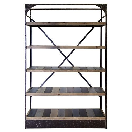 Art Maison Canada 53-inch x 16-inch x 81-inch 5-Shelf Pine Wood Rack