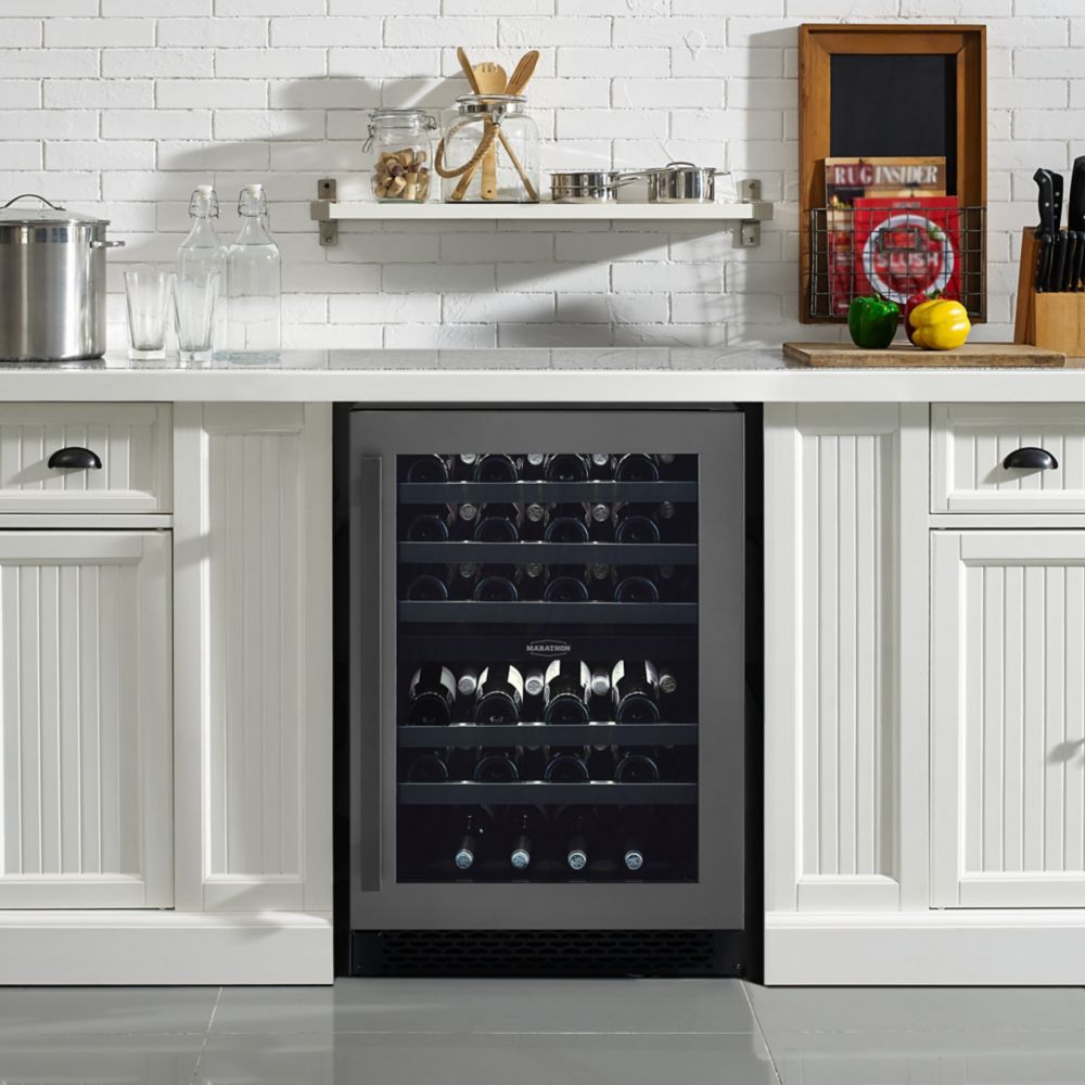 Marathon Premium Black Steel Dual Zone Wine Cooler