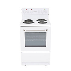 24 inch White Electric Coil Top Range