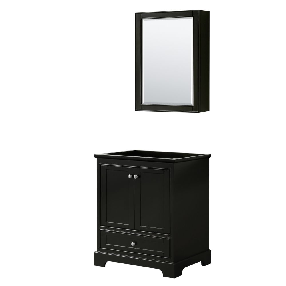 Wyndham Collection Deborah 30 Inch Single Vanity in Dark Espresso, No Counter, No Sink, Medicine Cabinet