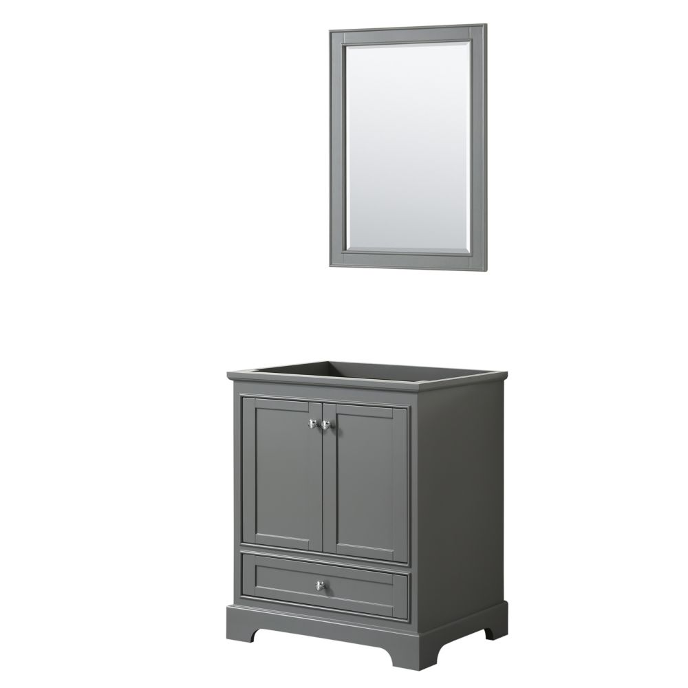 Wyndham Collection Deborah 30 Inch Single Vanity in Dark Gray, No Counter, No Sink, 24 Inch Mirror