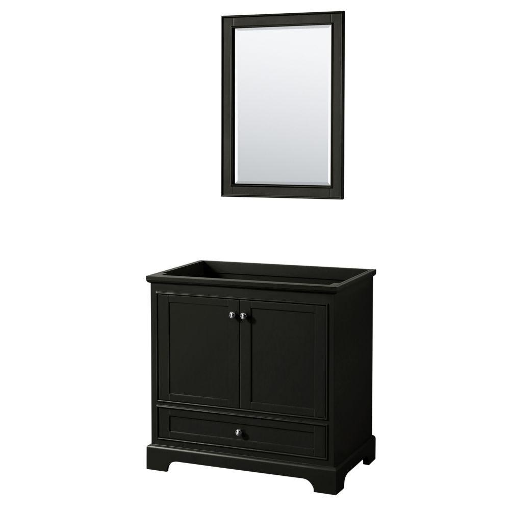 Wyndham Collection Deborah 36 Inch Single Vanity in Dark Espresso, No Counter, No Sink, 24 Inch Mirror
