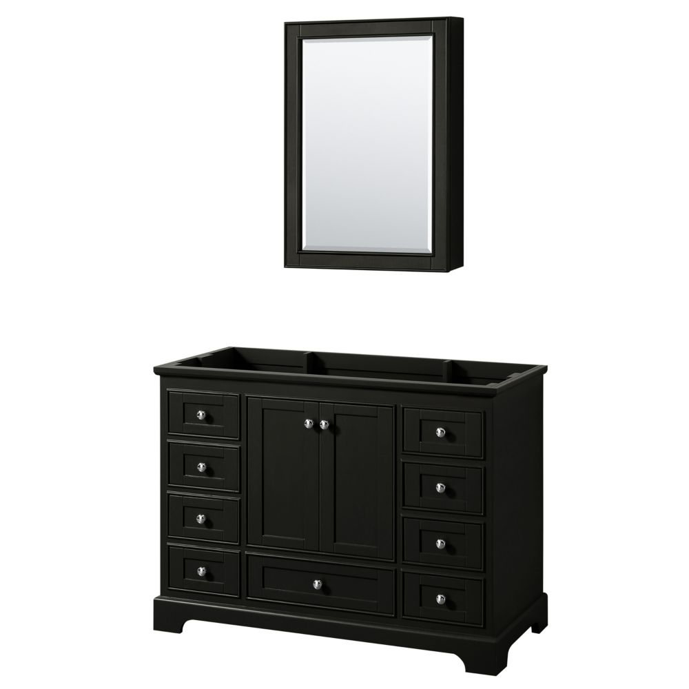 Wyndham Collection Deborah 48 Inch Single Vanity in Dark Espresso, No Counter, No Sink, Medicine Cabinet