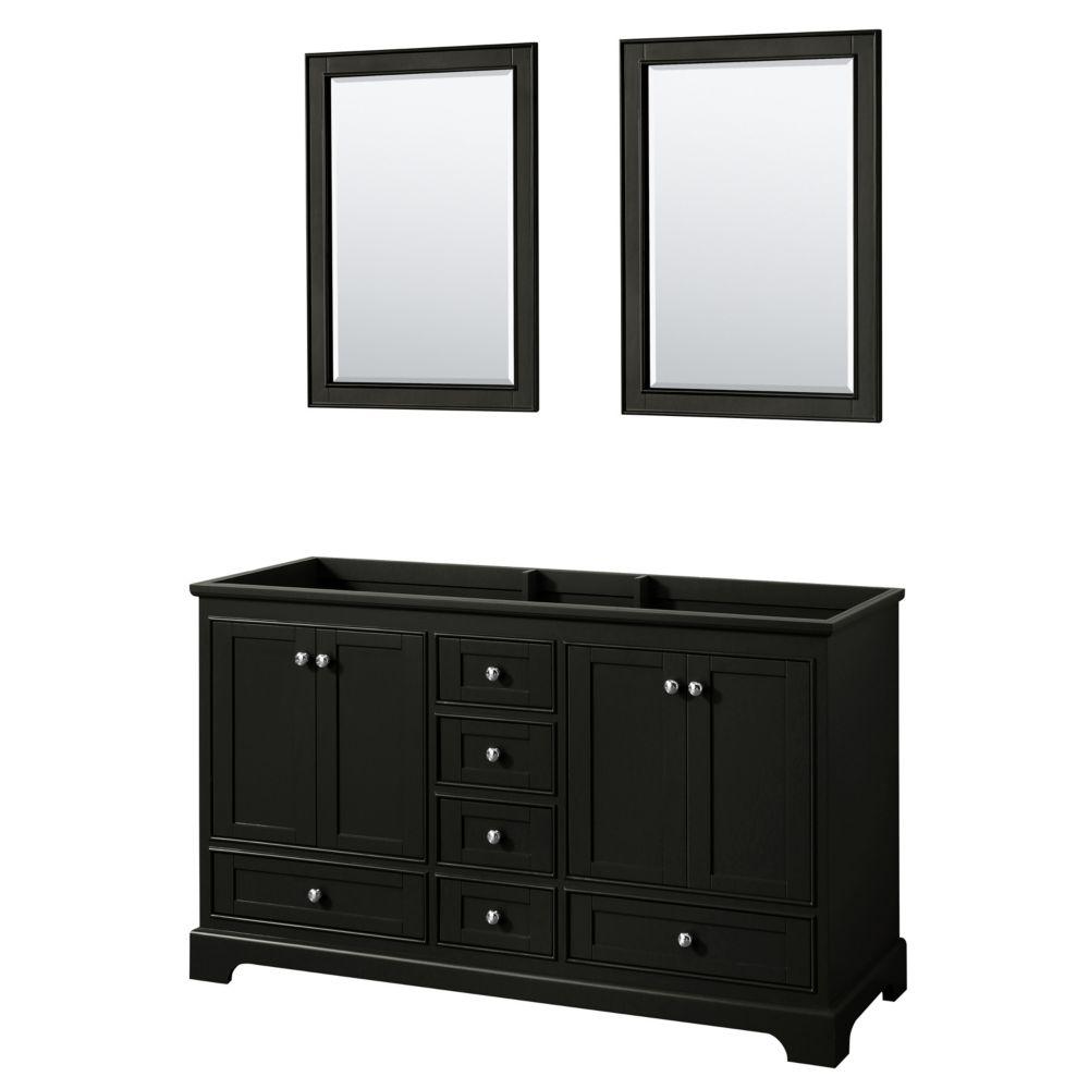 Wyndham Collection Deborah 60 Inch Double Vanity in Dark Espresso, No Counter, No Sinks, 24 Inch Mirrors