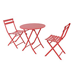 Hampton Bay Follie Ensemble bistro de 3 pieces pliant - rouge