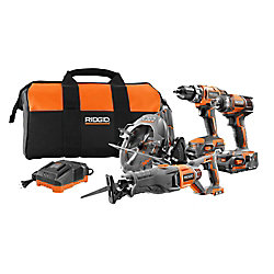 RIDGID 18V 4-Tool Combo Kit with Drill, Impact Driver, Recip Saw, Circular Saw, 2 Batteries, Charger, and Bag