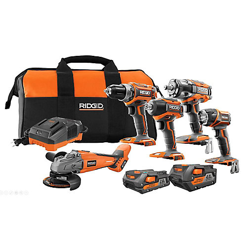 18V Brushless 5-Tool Combo Kit with (1) 4.0 Ah Battery, (1) 2.0 Ah Battery, Charger, and Bag