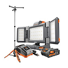 18V Hybrid Panel Light Kit with 7 ft. Universal Stand with (1) 2.0 Ah Battery and Charger