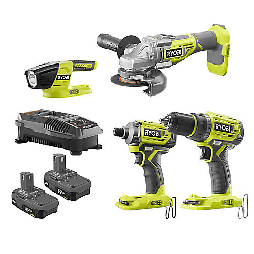 18V ONE+ Brushless Combo Kit (4-Tool) with Drill, Grinder, Impact, Light, (2) Batteries and Charger