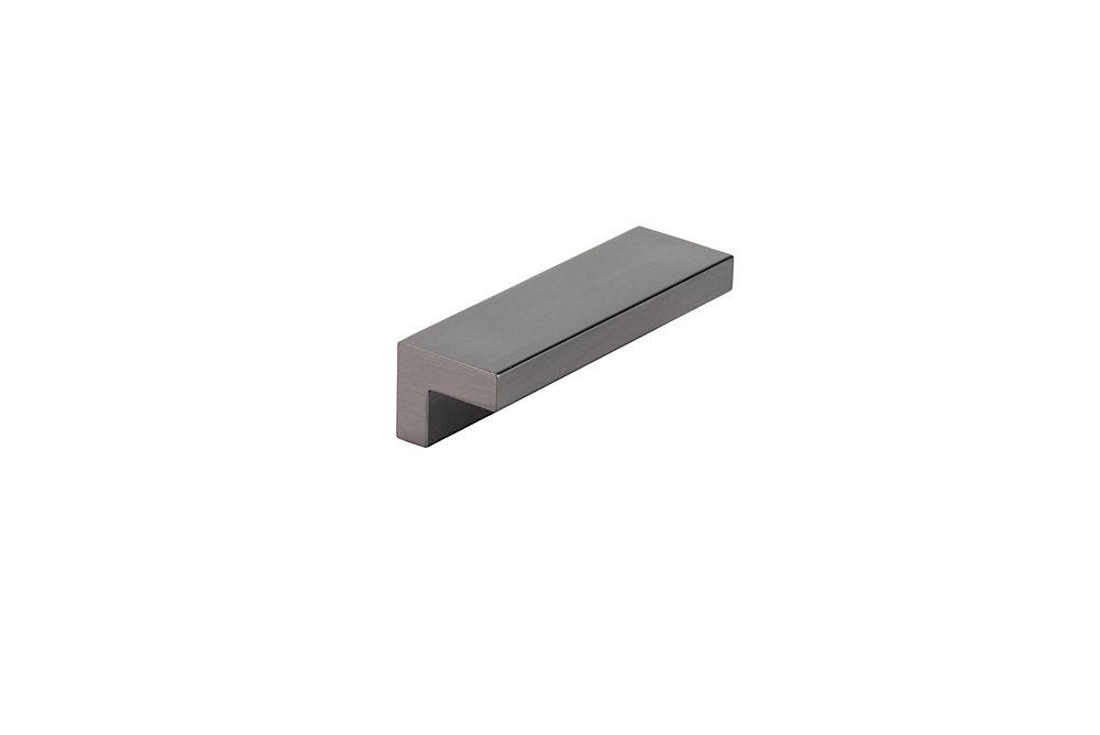 Poignée contemporaine en métal, Acier Inoxydable Noir Brossé, 2 17/32 po (64 mm)