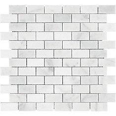 Carrara Mini Brick 1-inch x 2-inch Polished Marble Mosaics