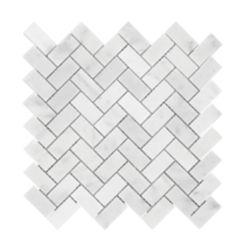 Enigma Carrara Herringbone 1-inch x 2-inch Polished Marble Mosaics