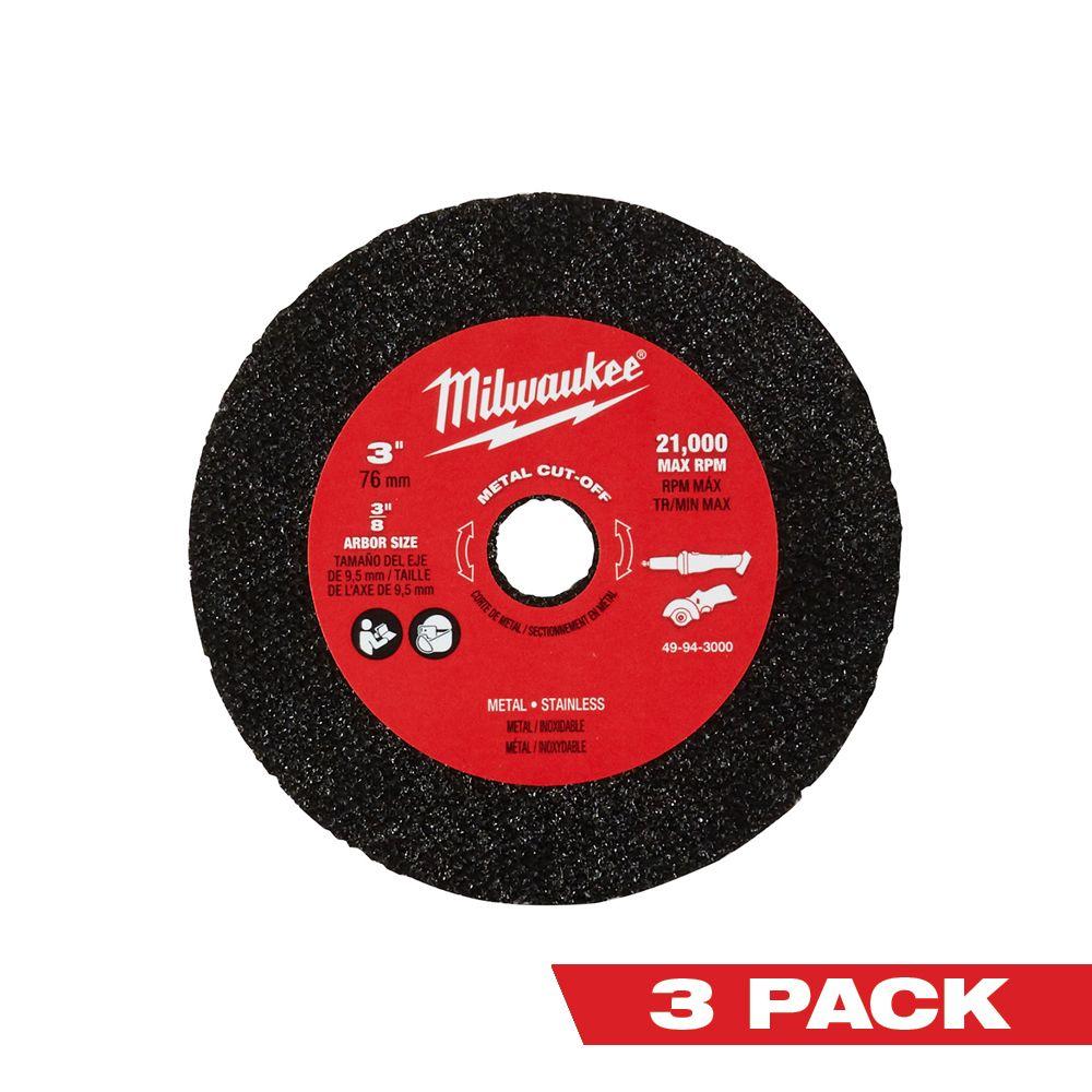 Milwaukee Tool 3 Inch Metal Cut Off Wheel 3 Pack The